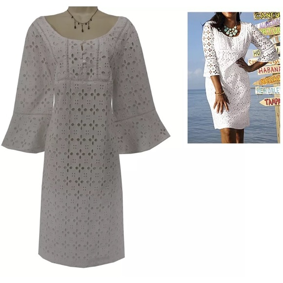 Dress Barn Dresses 18w 2xgorgeous White Eyelet Dress Plus Size